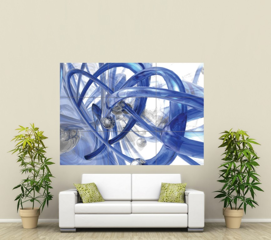 3D ABSTRACT ART BLUE NEON GIANT ART POSTER PRINT