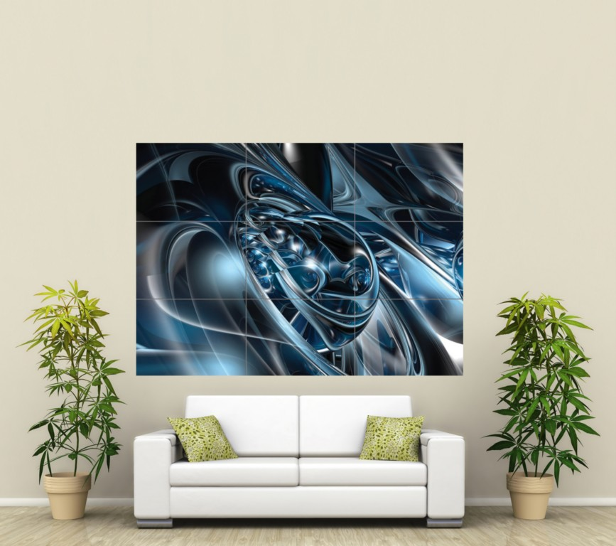 ABSTRACT 3D ARTY ART GIANT PICTURE POSTER PRINT